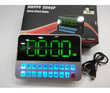 Преносимо Акумулаторно USB Радио с часовник Happy Sheep CR562, USB, SD карта,  Голям дисплей, Вграден фенер, Чувствителен тунер