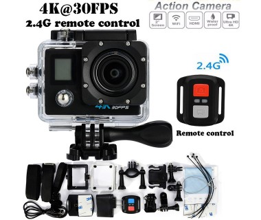 Екшън камера GoPlus 4K50, 4K Ultra HD, 2 инчов дисплей, 170° лещи, Водоустойчив, WiFI, Дистанционно, 2 дисплея