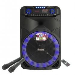 15 инчова тонколона Meirende MR-108 с вграден акумулатор, Bluetooth, МП3 плейър, безжични микрофони 2 бр. за караоке