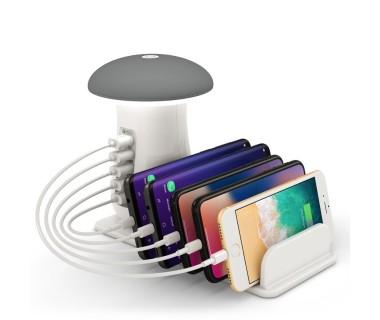 Мултифункционално USB зарядно устройство с нощна лампа Mushroom Charger, 5 USB, GSM поставка