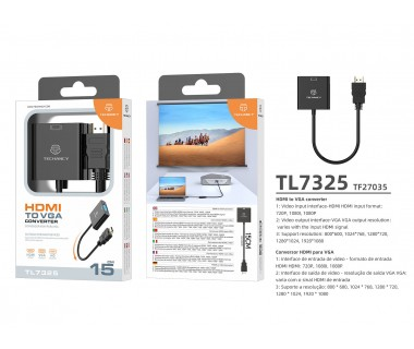 Преходник Techancy  TL7325, HDMI към VGA
