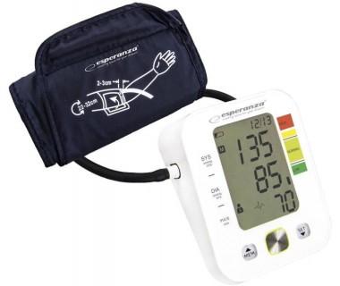 Апарат за измерване на кръвно налягане Esperanza Verve, Систолично и диастолично, Открива сърдечна аритмия, 90 позиции памет, XXL дисплей, Бял