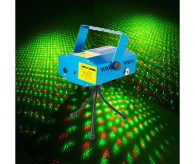 Двуцветен диско лазер със звуков контрол и различни ефекти