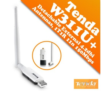 USB мрежови WIFI адаптер с удължен обхват Tenda W311U+